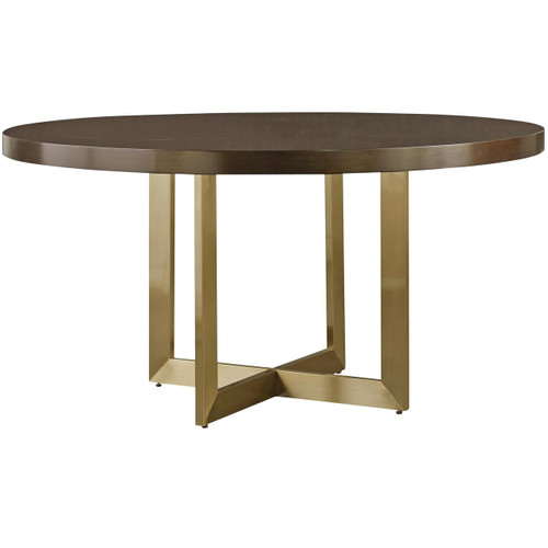 Gibson Modern Brushed Gold Round Wood Dining Table 54""