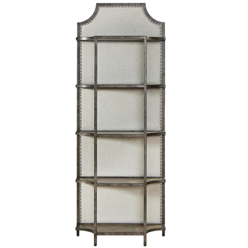 Sojourn French Industrial Upholstered Back Metal Bookcase Etagere