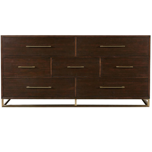 Gibson Modern Brushed Gold Mahogany 7 Drawer Dresser