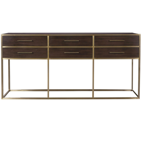 Gibson Modern Brushed Gold Mahogany 6 Drawers Console Table