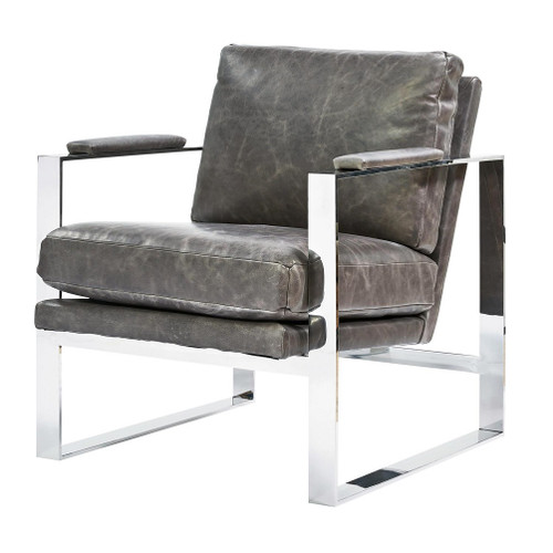 Elan Mid Century Modern Grey Leather Metal Arm Chair