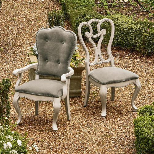 Belgian Country Gray Velvet Upholstered Dining Room Cabriole Dining Chairs