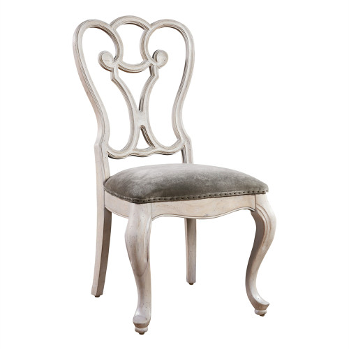 Belgian Cottage Gray Velvet Upholstered Cabriole Dining Chair