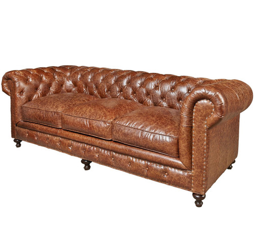 Belgian 3 Cushion Tufted Saddle Leather Chesterfield Sofa 98 Zin Home