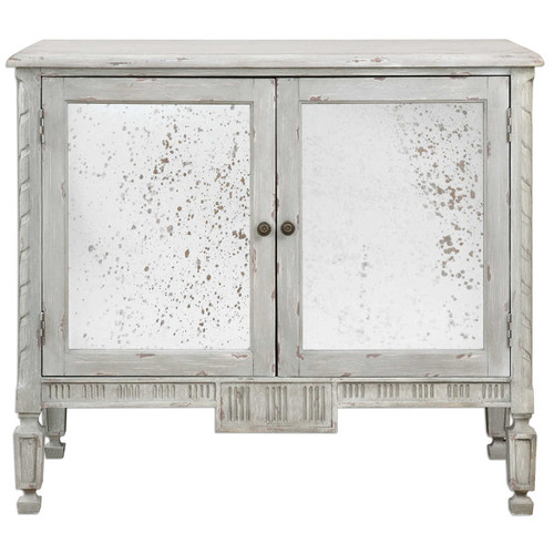 Okorie French Country Antiqued Mirrored Console Cabinet