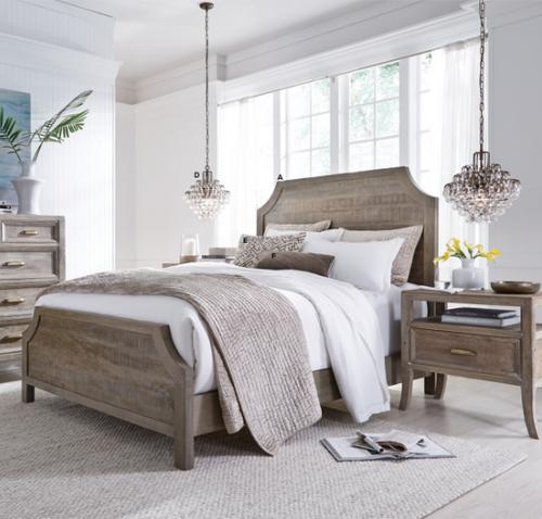 Amelie Solid Wood Queen Bed Frame - Vintage Taupe
