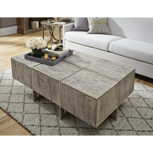 Uptown Whitewashed Solid Wood Iron Leg Coffee Table 54 Zin Home