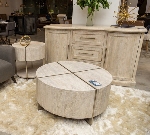 9fdafd413c Uptown Whitewashed Solid Wood Round Coffee Table 36