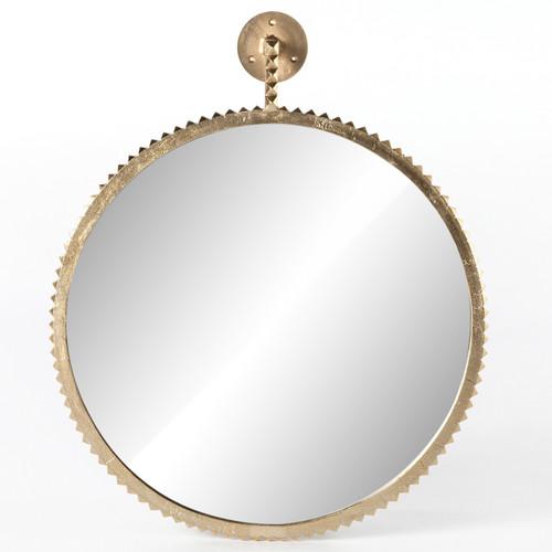 Cru Cast Aluminum Aged Gold Round Wall Mirror