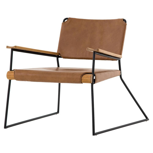 Newton Mid-Century Tan Leather Arm Chair