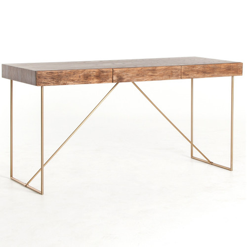 Keaton Reclaimed Wood + Antiqued Brass Writing Desk