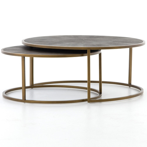 Hollywood Modern Shagreen Nesting Round Coffee Tables - Brass
