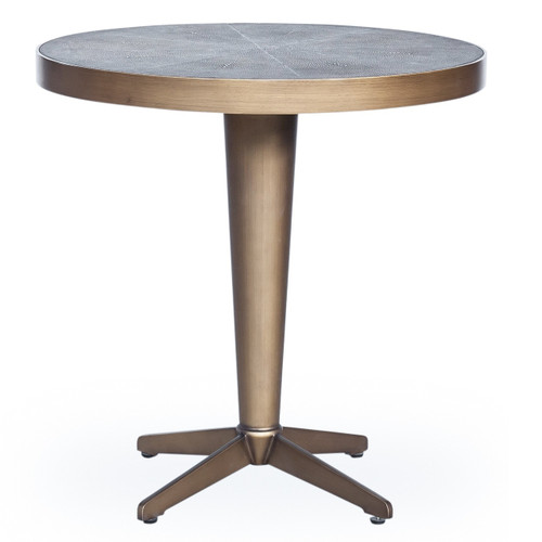 Hollywood Modern Shagreen Round Side Table - Antiqued Brass