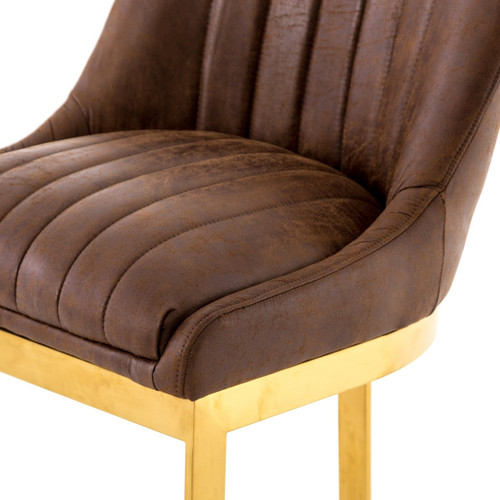 ... Rory Tobacco Leather + Gold Counter Stool