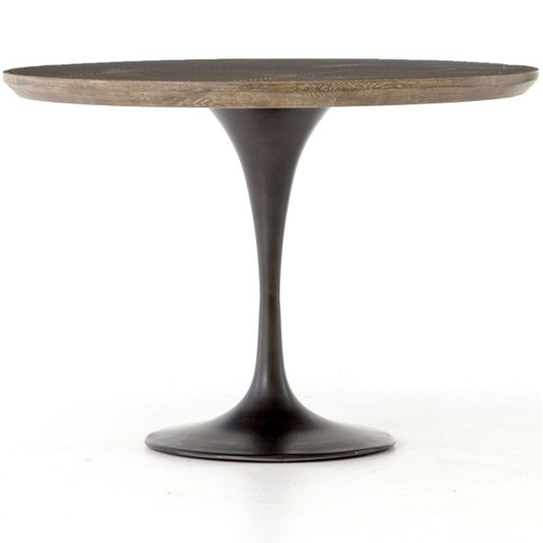 Aero Tulip Industrial Brass Clad Top Round Dining Table 42""