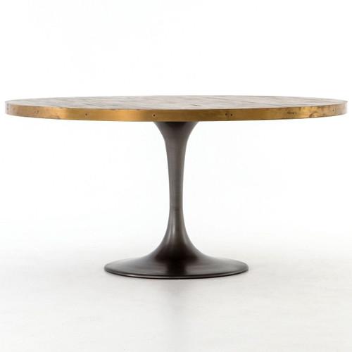 "Evans Industrial Tulip Oak Wood Top Round Dining Table 60"""