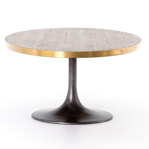11f632dc77da ... Evans Aero Industrial Tulip Oak Wood Top Oval Dining Table 98