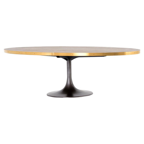 Evans Industrial Tulip Oak Wood Top Oval Dining Table 98""