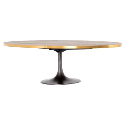 "Evans Industrial Tulip Oak Wood Top Oval Dining Table 98"""