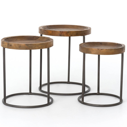 Trio Reclaimed Pine and Iron Round Nesting Tables