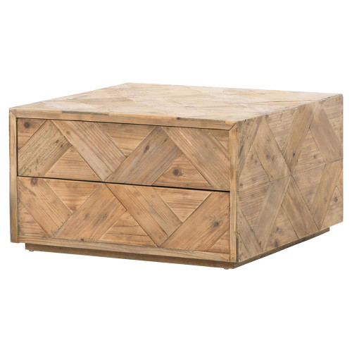 Harwood Reclaimed Pine Square Storage Coffee Table