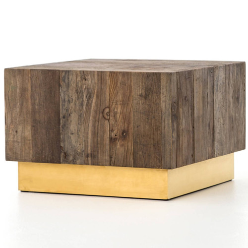 Hana Reclaimed Elm + Brass Square Coffee Table