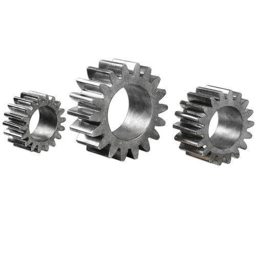 Industrial Tarnished Silver Gears Sculpture Set