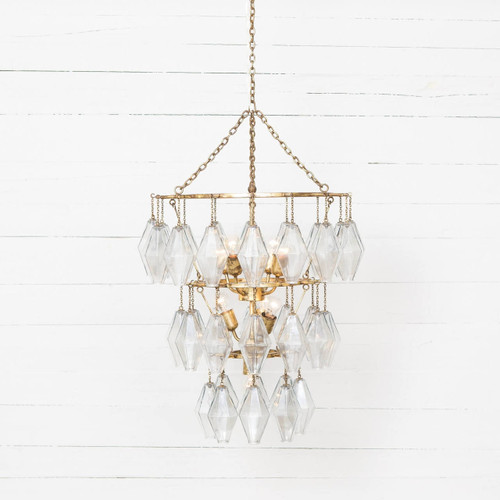 Adeline Gold Leaf Waterfall Round Small Chandelier