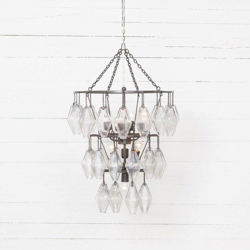 Adeline Antiqued Iron Round Small Waterfall Chandelier