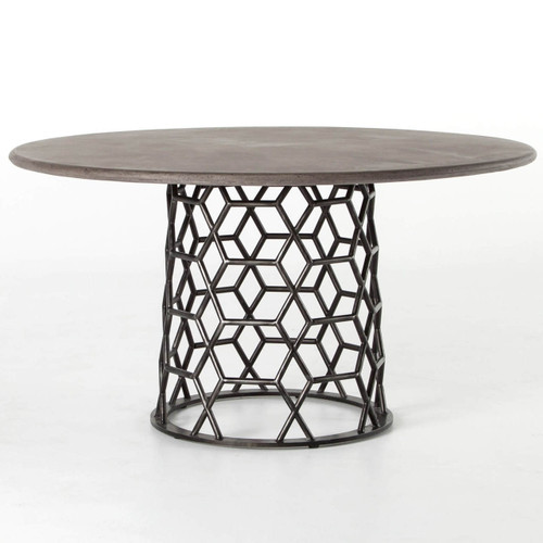 Arden Concrete Top Metal Pedestal Round Dining Table 54""