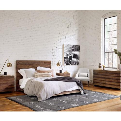 Tiller Brass Reclaimed Wood Low Platform Bed Queen Zin Home