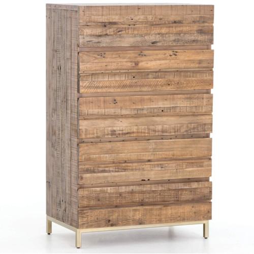 Tiller Gold Brass & Reclaimed Wood 5 Drawers Chest