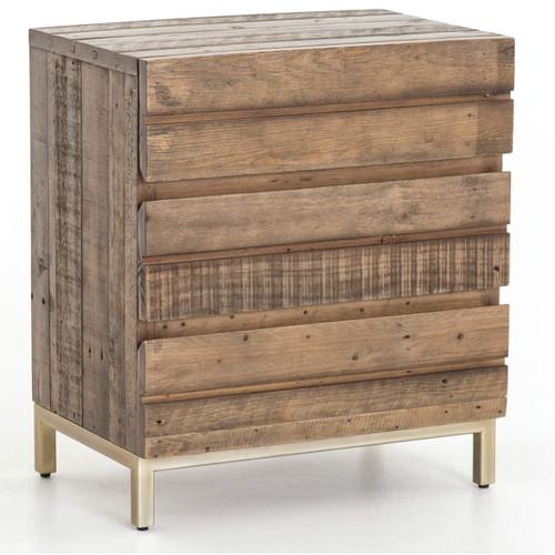Tiller Brass & Reclaimed Wood 3 Drawer Nightstand
