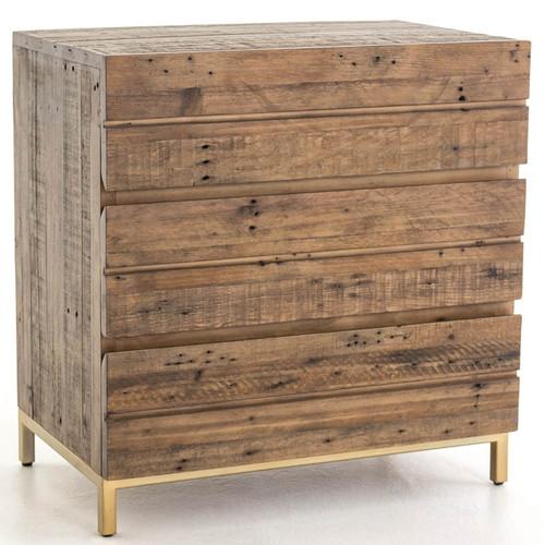 Tiller Brass & Reclaimed Wood 3 Drawers Small Chest
