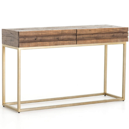 Tiller Brass & Reclaimed Wood 2 Drawer Console Table