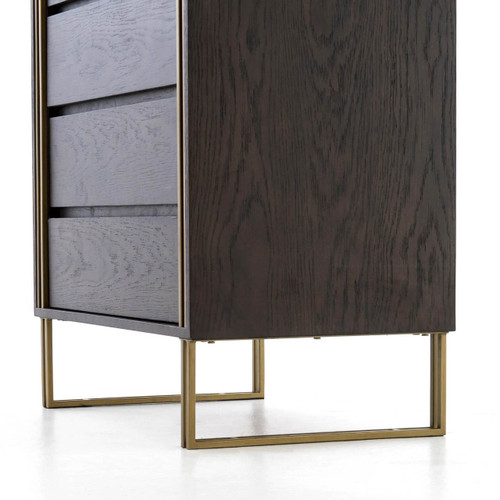 Samara Brass Amp Black Oak Wood 5 Drawers Tall Dresser Zin