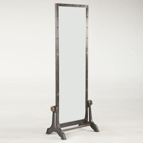 Industrial Floor Mirror: Steampunk Industrial Steel + Wood Standing Floor Mirror