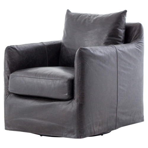 Banks Slipcovered Black Leather Swivel Club Chair