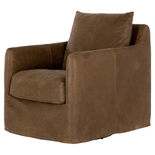 Banks Slipcovered Leather Swivel Club Chair