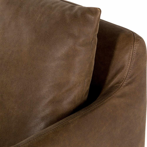 Banks Slipcovered Leather Swivel Club Chair Umber Grey