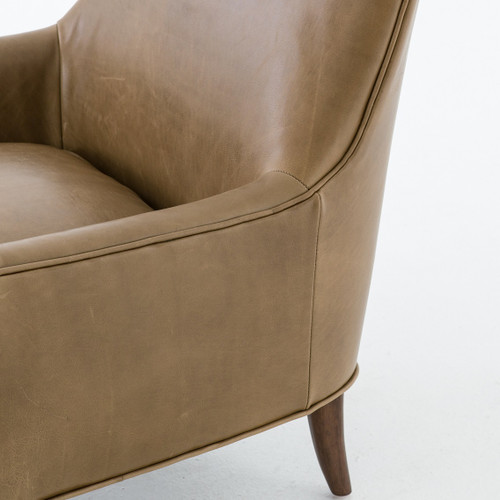 Brilliant Danya Mid Century Modern Taupe Leather Accent Chair Gmtry Best Dining Table And Chair Ideas Images Gmtryco