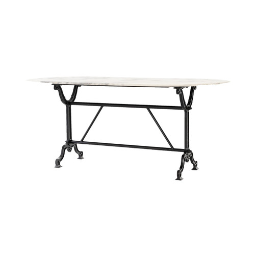 IRCK-193A,AVA DINING TABLE-WHITE MARBLE/BLACK