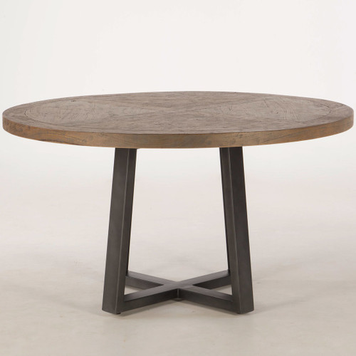 Long Beach Wood and Iron Round Dining Table 54""