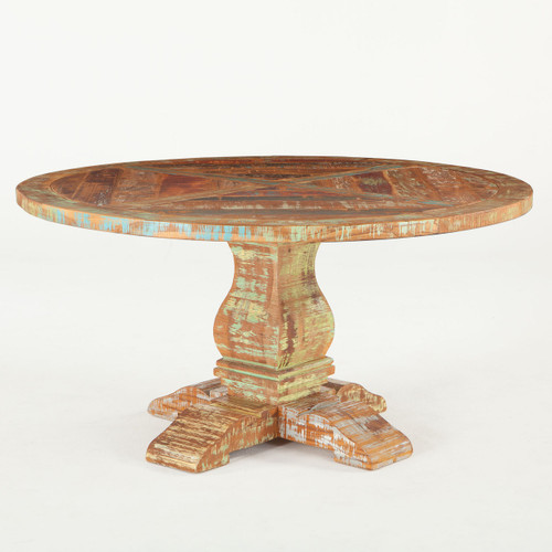 """Shabby Chic Reclaimed Wood Round Dining Table 60"""""""