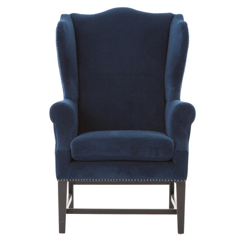 Admirable Chaucer Navy Blue Velvet Wing Chair Gmtry Best Dining Table And Chair Ideas Images Gmtryco