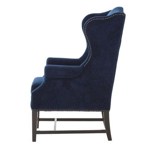 Chaucer Navy Blue Velvet Wing Chair Zin Home
