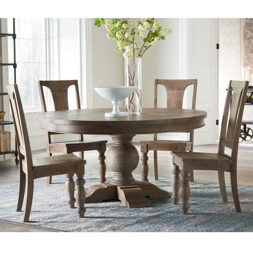 French Urn Solid Wood Pedestal Round Dining Table 54\
