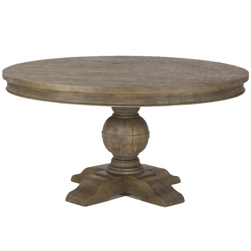 """French Urn Solid Wood Pedestal Round Dining Table 60"""""""