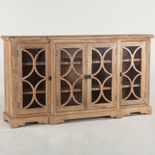 """French Farmhouse Solid Wood 4 Door Credenza Cabinet 75"""""""