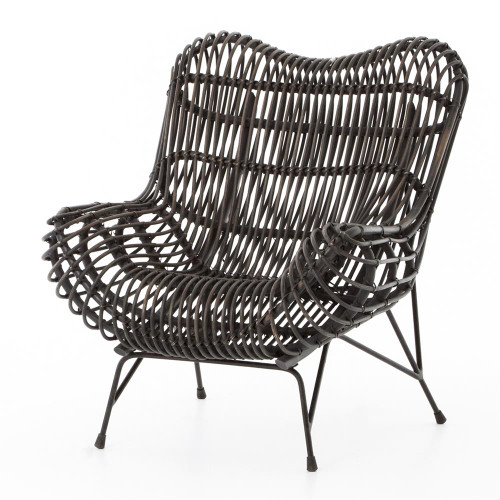 Coastal Black Iron and Woven Wicker Accent Chair